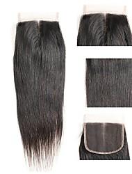 billige -malaysisk hår 4x4 Lukning Lige Schweiziske blonder Menneskehår Dame Bedste kvalitet / 100% Jomfru / Lace Closure Jul / Julegaver / Bryllup