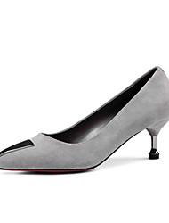baratos -Mulheres Sapatos Camurça Outono Conforto Saltos Salto Agulha Preto / Cinzento