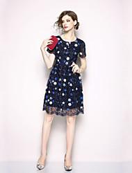 economico -Per donna Essenziale Linea A / Swing Vestito - Lace Trim, Fantasia floreale Al ginocchio
