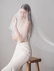 billige -To-lags Sød Bryllupsslør Fingerspids Slør Med Imiterede Perler 39,37 i (100 cm) Tyl