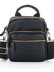 Недорогие -мужские сумки наппа кожаный портфель застежка-молния / сплошной черный / коричневый