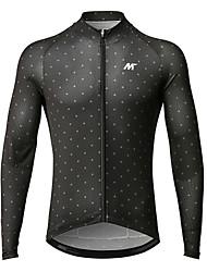 baratos -Mysenlan Homens Manga Longa Camisa para Ciclismo - Preto Moto Camisa / Roupas Para Esporte Poliéster / Zíper YKK
