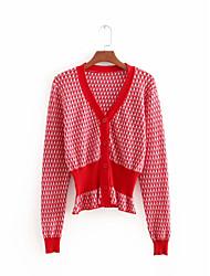 levne -Dámské Denní Jednobarevné Krátký rukáv Standardní Kardigan, Kulatý Bavlna Rubínově červená S / M / L