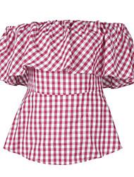 cheap -Women's T-shirt - Plaid Strapless