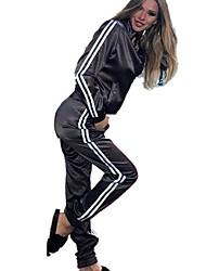 economico -Per donna Tasche Tuta da ginnastica - Nero, Viola, Verde Gli sport Strisce Giacca di pelle / Pantalone / Sovrapantaloni Yoga, Corsa, Fitness Manica lunga Abbigliamento sportivo Traspirante