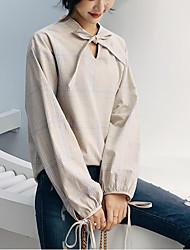 cheap -women's shirt - plaid round neck