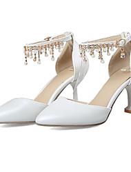 abordables -Femme Chaussures Polyuréthane Automne hiver D'Orsay & Deux Pièces Chaussures de mariage Kitten Heel Bout pointu Strass / Boucle / Gland Blanc / Rouge / Mariage / Soirée & Evénement