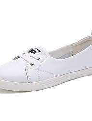 Недорогие -Жен. Обувь Кожа Весна лето Удобная обувь На плокой подошве На плоской подошве Круглый носок Пряжки Белый / Черный