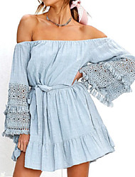 cheap -Women's Holiday / Going out Flare Sleeve Dress - Solid Colored Blue, Lace Trims Mini Off Shoulder / Fall