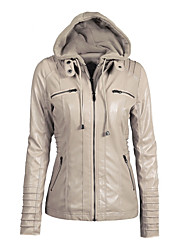 Недорогие -женская длинная кожаная куртка pu - современная с капюшоном