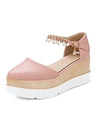 billige -Dame D'Orsay & Two-Piece PU Forår sommer Sandaler Creepers Hvid / Beige / Lys pink
