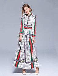 Χαμηλού Κόστους -Γυναικεία Βασικό Λεπτό Θήκη Φόρεμα - Γεωμετρικό, Στάμπα Μακρύ Όρθιος Γιακάς