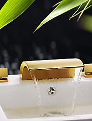 abordables -Baño grifo del fregadero / Conjunto de grifería - Separado / De pie / Nuevo diseño Ti-PVD De Pie Tres manijas tres agujeros