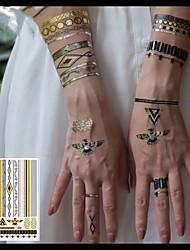 Недорогие -Металлические ювелирные татуировки / Временные татуировки в стиле деколь Корпус / рука / запястье Временные татуировки 3 pcs Тату с цветами / Романтическая серия Экологичные / Новый дизайн