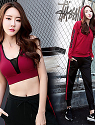 cheap -Women's Pullover Pocket / Drawstring 3pcs Tracksuit / Yoga Suit - White, Red, Grey Sports Letter Mesh Sweatshirt / Bra Top / Skinny Pants Running, Fitness, Gym Long Sleeve Plus Size Activewear