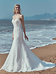 baratos -Sereia Decote Princesa Cauda Corte Renda Vestidos de casamento feitos à medida com Apliques / Renda de LAN TING BRIDE® / Pretíssimos