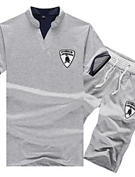 cheap -Men's Sports Short Sleeve Activewear Set - Geometric