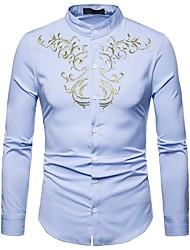 Недорогие -Муж. Вышивка Рубашка Воротник-стойка Винтаж / Богемный Этно Серый / Длинный рукав