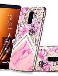 Недорогие -Кейс для Назначение SSamsung Galaxy A6 (2018) / A6+ (2018) / A8 2018 Прозрачный / С узором Кейс на заднюю панель Цветы / Мрамор Мягкий ТПУ