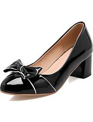 baratos -Mulheres Sapatos Couro Ecológico Primavera & Outono Plataforma Básica Saltos Salto de bloco Ponta Redonda Laço Preto / Bege / Rosa claro