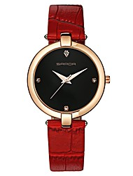cheap -SANDA Women's Dress Watch Wrist Watch Japanese Quartz 30 m Water Resistant / Water Proof New Design Casual Watch Leather Band Analog Casual Fashion Black / White / Red - Red Pink Black / White