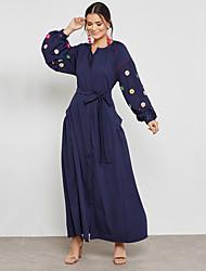 Недорогие -Жен. Уличный стиль / Изысканный Оболочка / С летящей юбкой Платье - Однотонный, Бусины Макси Цветок солнца