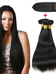 cheap -3 Bundles with Closure Mongolian Hair Straight Unprocessed Human Hair / Human Hair Gifts / Cosplay Suits / Natural Color Hair Weaves / Hair Bulk 8-20 inch Natural Color Human Hair Weaves 4x4 Closure