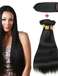 Недорогие -3 комплекта с закрытием Монгольские волосы Прямой 8A Натуральные волосы Необработанные натуральные волосы Человека ткет Волосы Сувениры для чаепития Пучок волос 8-20 дюймовый Естественный цвет