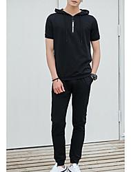 cheap -Men's Sports Short Sleeve Hoodie - Color Block Hooded