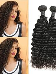 Недорогие -2 Связки Малазийские волосы Глубокий курчавый Натуральные волосы Накладки из натуральных волос 8-26 дюймовый Нейтральный Ткет человеческих волос
