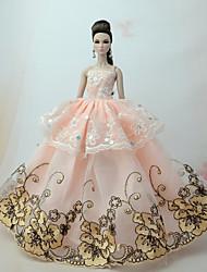 Недорогие -Платья Платье Для Кукла Барби Оранжевый Тюль / Кружево / Шелково-шерстяная ткань Платье Для Девичий игрушки куклы