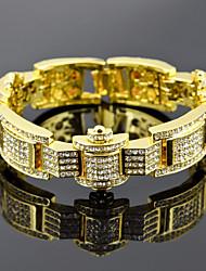 billiga -Herr Kubisk Zirkoniumoxid Trendig / Länk / Kedja Tennis Armband / Bred Bangle - Krona Lyx, Europeisk, Hiphop Armband Guld / Svart / Silver Till Gåva / Street