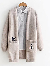 cheap -women's going out long sleeve long cardigan - animal stand