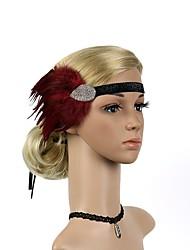 abordables -Gatsby le magnifique Rétro Années 20 Costume Femme Bandeau Garçonne Coiffure Noir / Rouge Vintage Cosplay Plume Fibre synthétique Strass Soirée Fête scolaire
