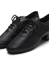 baratos -Homens Sapatos de Dança Moderna Couro Oxford Salto Grosso Sapatos de Dança Preto