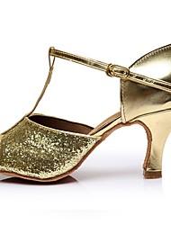 Недорогие -Жен. Обувь для латины Лакированная кожа Сандалии / На каблуках Планка Тонкий высокий каблук Персонализируемая Танцевальная обувь Золотой