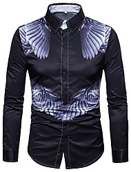 Недорогие -Муж. Большие размеры - Рубашка Геометрический принт / Длинный рукав