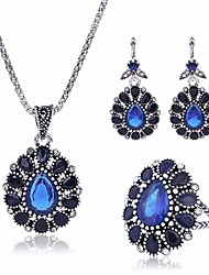 cheap -Women's AAA Cubic Zirconia Vintage Style / Tennis Chain Jewelry Set - Flower, Totem Series Vintage, Romantic, Ethnic Include Vintage Necklace / Earrings / Ring Blue For Ceremony / Formal