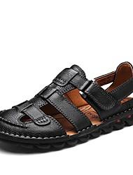 billige -Herre Læder Sommer Komfort Sandaler Sort / Mørkebrun