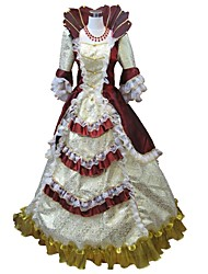 cheap -Princess Rococo / Renaissance / 18th Century Costume Women's Dress / Party Costume / Masquerade Red and White / Red+Golden / Fuschia Vintage Cosplay Half Sleeve Puff / Balloon Sleeve Floor Length