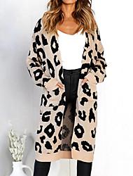 povoljno -Žene Dnevno Osnovni Leopard Dugih rukava Širok kroj Duga Kardigan, Okrugli izrez Proljeće / Jesen Pamuk Blushing Pink / Bijela / Žutomrk M / L / XL