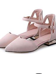 baratos -Mulheres Sapatos Camurça Primavera Conforto Rasos Salto Baixo Preto / Cinzento / Rosa claro