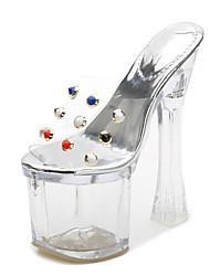 baratos -Mulheres Sapatos PVC Verão Shoe transparente Sandálias Salto Alto de Cristal Peep Toe Tachas Claro / Festas & Noite
