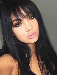 cheap -Synthetic Wig Straight Layered Haircut Synthetic Hair 24 inch Heat Resistant / With Bangs Black Wig Women's Long Capless Natural Black / Yes
