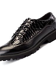 Недорогие -Муж. Полиуретан Весна Формальная обувь Туфли на шнуровке Черный / Черный / Красный