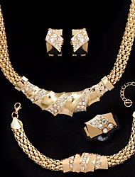 cheap -Women's AAA Cubic Zirconia Sculpture / Tennis Chain Jewelry Set - Artistic, European, Trendy Include Vintage Bracelet / Vintage Necklace / Earrings Gold For Party / Formal / Ring