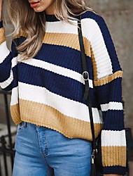 baratos -pullover slim de manga comprida para mulher - decote redondo em cor sólida