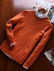 Недорогие -Муж. Длинный рукав Тонкие Пуловер - Контрастных цветов V-образный вырез