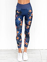cheap -Women's Sexy Yoga Pants - Dark Blue Sports Floral Print Spandex High Rise Tights Running, Fitness, Gym Activewear Moisture Wicking, Quick Dry, Breathable High Elasticity