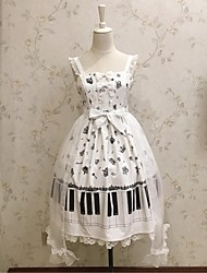 baratos -Doce Casual Lolita Dress Shiro& Kuro Rococó Renda Feminino Vestidos Saia de Saltador Cosplay Branco Sem Mangas Sem Manga Até os Joelhos Trajes da Noite das Bruxas